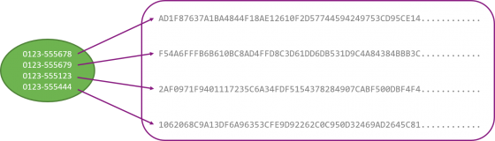 Image of hashed phone numbers where some symbols have been trimmed off